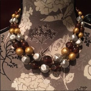 ☀️VINTAGE Brown & Gold Double Strand Bead Necklace